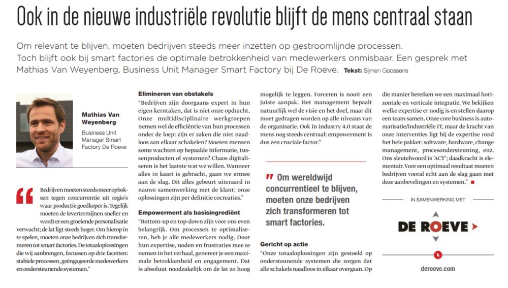"""De Roeve in Trends magazine: """"Ook in de nieuwe industriële revolutie blijft de mens centraal staan"""""""
